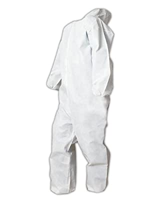 Magid EconoWear Lite N Kool Plus Polypropylene Coverall with Hood, Disposable, Elastic Cuff, White