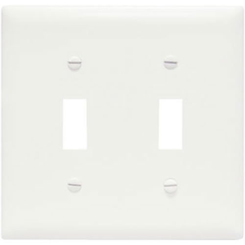 Legrand - Pass & Seymour SPO2WU Plastic Wall Plate Jumbo Two Gang Two Toggle without Line, White (Gang Toggle Plastic Wall Plate)