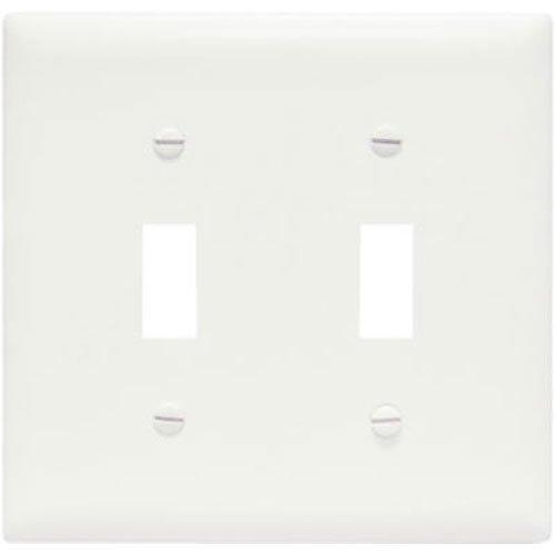 Legrand - Pass & Seymour SPO2WU Plastic Wall Plate Jumbo Two Gang Two Toggle without Line, - Toggle Plate Oversize Wall