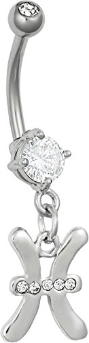 Surgical Steel CZ Jeweled Pisces Zodiac Sign Dangle Belly Button Ring
