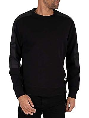 Calvin Klein Jeans Men's Mixed Media Sweatshirt, Black, L
