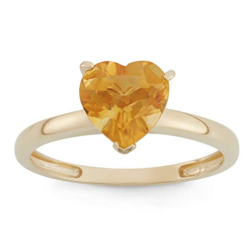 Celebration Moments Citrine Heart Shape Ring in 10K Gold, 8mm - Size 9
