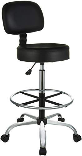 Stool Drafting Bar Chrome - AmazonBasics Multi-Purpose Adjustable Drafting Spa Bar Stool with Foot Rest and Wheels - Black