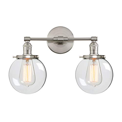 "Phansthy Industrial Style Wall Light Clear Double Sconce with 5.9"" Glass Round Canopy On/Off Button(Brushed)"