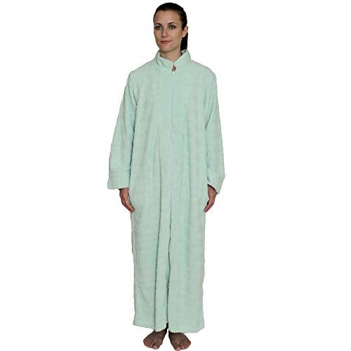 NDK New York Women's Zipper Front Chenille Bathrobe 100% cotton Length 52 inches (Women For Chenille Robes Cotton)