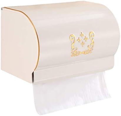 GONDD ティッシュボックストイレのバスルームスペースアルミロールホルダーヨーロッパのアンティークトイレットペーパートレイ、フリーパンチ/パンチ兼用インストール(真鍮、白)、サイズ:20x13x11.5cm (Color : White)