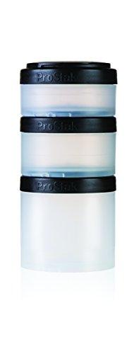 BlenderBottle ProStak Twist n Lock Storage Jars Expansion 3-Pak with Pill Tray, Clear/Black