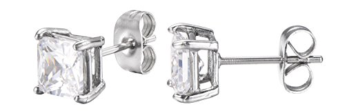 Stainless Steel Princess Cut White Cubic Zirconia Stud Earrings With Push Backings -6mm- By Regetta ()