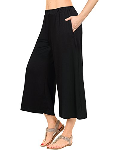 GlorySunshine Women's Elastic Waist Solid Palazzo Casual Wide Leg Pants with Pockets (S, Black)