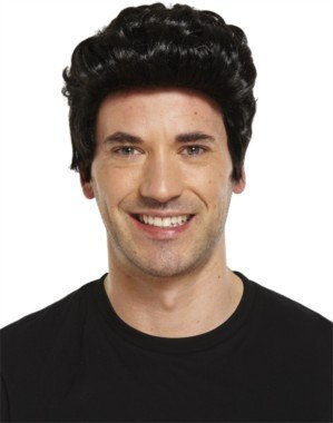 Henbrandt Mens 1950's Teddy Boy Wig Black for Fancy Dress Up Outfit Accessories ()