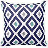 Decorative Pillow Cover - Navy Blue Aqua and Grey Diamond Pattern Design Decorative Throw Pillow Case Cover Square 18 X 18 Inch Two Sides
