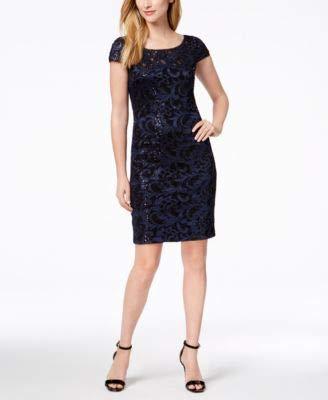 - Calvin Klein Women's Sequined Lace Sheath Dress (6, Navy/Black)