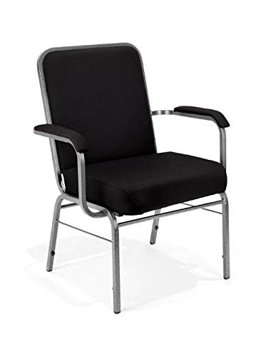 Class Stack Silver Vein Frame - OFM Big and Tall Comfort Class Series Fabric Arm Chair, Black