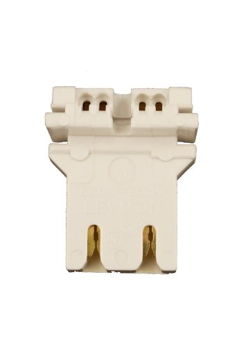 Leviton Fluorescent - Leviton 13180-U Medium Base, Bi-Pin, Standard Fluorescent Lampholder, U-Shaped Lamp, Slide-On Self- Aligning, Straight-In Double Edge, Quick-Connect, White
