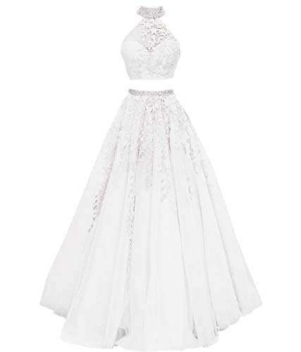 Mauwey Women's 2019 New Two Piece Halter Beaded Lace Tulle Evening Party Prom Formal Gown Dresses -