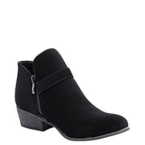 Top Moda Shoes Women's Gary-10 Black Western Stacked Low Heel Ankle Booties with Buckle Strap 8.5 D(M) US