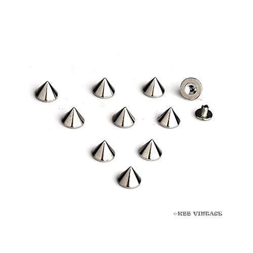 BeesClover ! 1000pc Cone Spike Screwback Spikes Punk Studs Leathercraft 1/4'' Silver Show