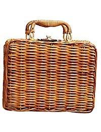 Vintage Rattan (GETUPP Vintage Rattan Handbag Handmade Tote Weave Purse Straw Beach Bag for Women)