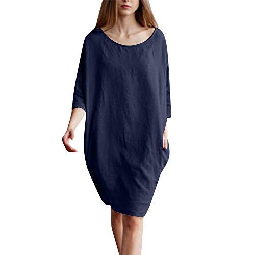 WILLBE Women's Cotton Linen Dress Summer Knee-Length Dresses Patchwork 1/2 Sleeved Cotton Linen Loose Tunic Dress - Patchwork Madras Pink