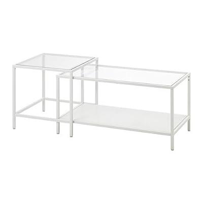 Vittsjo Nesting Tables Set of 2 White Glass Adjustable Feet