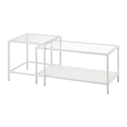 Amazon ikea nesting tables set of 2 white glass 35 38x19 5 ikea nesting tables set of 2 white glass 35 38x19 5 watchthetrailerfo