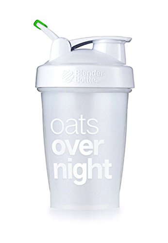Oats Overnight BlenderBottle - Customized for Overnight Oats - NO Whisk Ball - Milk Fill Line - Clear/White/Green - 20-Ounce Loop ()