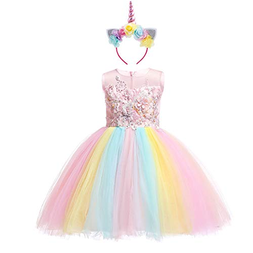 Girls Kids Flower Unicorn Birthday Outfits Rainbow Halloween Cosplay Fancy Headband Costume Tutu Dress up Tulle Pageant Party Princess Dance Evening Gown 2PCS Pink Rainbow 4-5