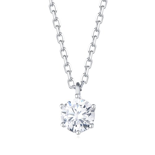 - Carleen 18K White Gold Plated 925 Sterling Silver Round Solitaire CZ Cubic Zirconia Dainty Pendant Necklace for Women Girls with 15.75