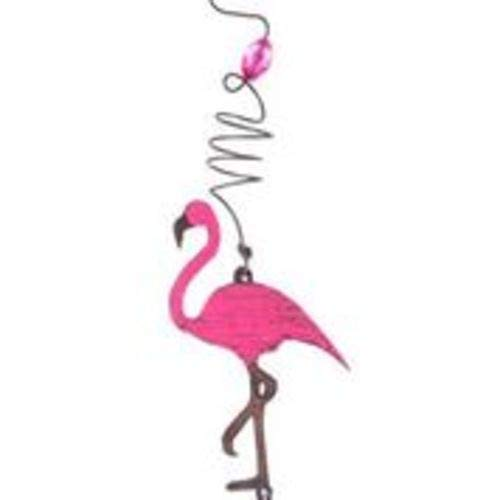 Whimsies 9 inch Mobile with Assorted Beads Silver Charm and Pink Flamingo
