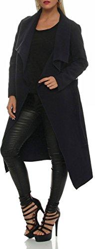 malito elegante larga Abrigo con Cascada Noble Capote Manteo Gabán Chaqueta Envolver Bolero 3030 Mujer One Size azul oscuro