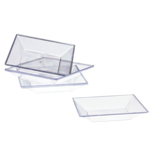 Exquisite Plastic Mini Square Appetizer Plates - 100 Ct Square plastic Dessert Plates - 2.95 Inch. x 2.95 Inch. (Clear) by Exquisite