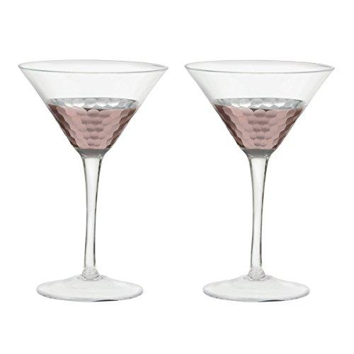 Artland Coppertino Hammer Martini Glasses, Set of 4, 9 oz, Clear