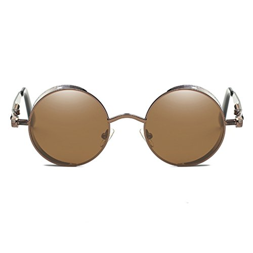 Armear Gothic Steampunk Round Small Sunglasses Women Men Trendy Metal Frame (Brown, - Tinted Brown Sunglasses
