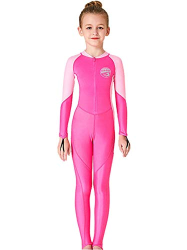 JELEUON Little Kids Girls One Piece Water Sports Sun Protection Rash Guard UPF 50+ Long Sleeves Full Suit Swimsuit Wetsuit Rose (Best Roses For Full Sun)