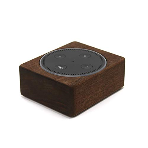Wood Stand for Echo Dot 2nd Gen, Handmade in USA, Solid Wood Holder for Alexa, Rustic Hardwood Stand, Decorative Protective Case Made from Alder Wood Espresso Color