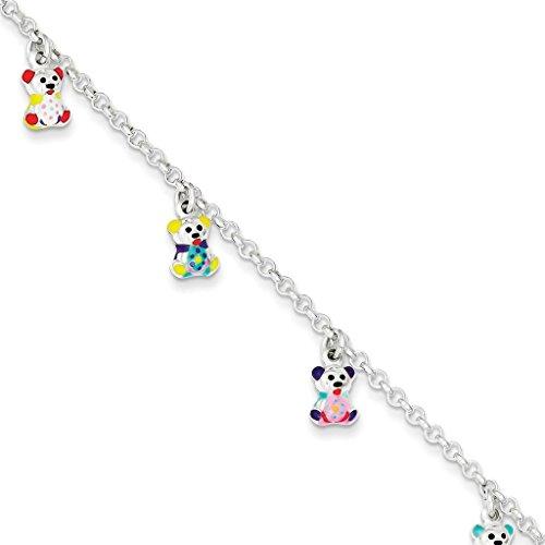 Gemstone Teddy Bear Charms - Kids 925 Sterling Silver Polished Links w/ Dangling Enameled Teddy Bears Charm Bracelet 6