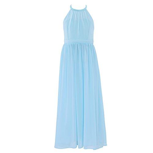 Princess Dresses For Teens (iEFiEL Summer Wedding Junior Bridesmaid Chiffon Long Dress Flower Girl Teens Ceremony Gown Sky Blue 6)