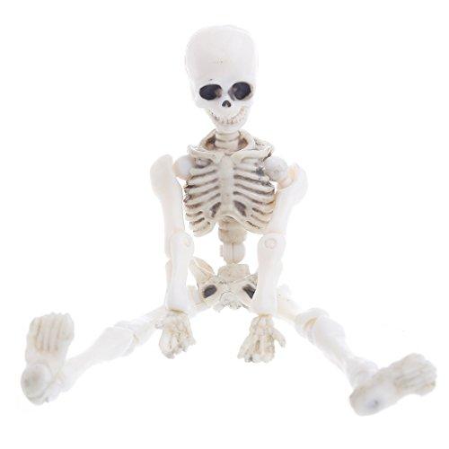 Shoresu Movable Mr. Bones Skeleton Human Model Skull Full Body Mini Figure Toy Halloween White 9cm/3.54
