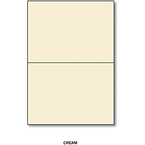 Cream Half Fold Greeting Cards Uncoated, 80lb /216 gsm - Size 5.5 X 8.5 Inches When Folded - 50 Cards Per Pack Sales