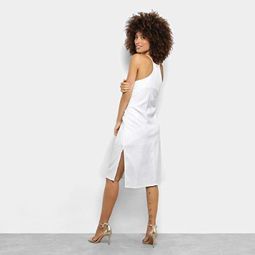 Vestido Maria Filó Evasê Midi Botões Fenda - Branco - G
