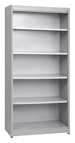 - 36' x 18' x 72' Elite Series Stationary Bookcase with 5 Shelves, Dove Gray
