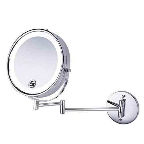 ZNDDB Lupa 10X / 1X Espejo de Maquillaje, con luz LED/Pared/Doble Cara, 8,5 Pulgadas / 360 ° de rotación/Extensible para...