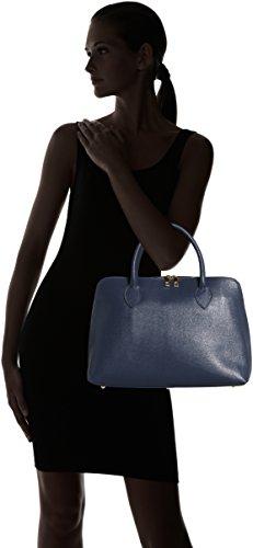 inspider sac en 38x28x10cm cuir véritable CTM main Bleu femmes in à coup Made Italy imprimé sac 100 Blu RxW8xYwdzq