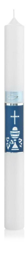 Wiedemann 167194.007 Tauf-Kommunion-Konfirmationskerze, Wachs, Blau 40 x 4 cm