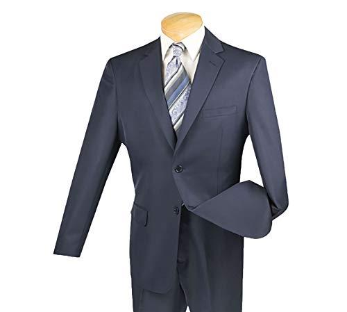 VINCI Men's Gabardine 2 Button Classic-Fit Suit w/Flexible Waistband Navy Blue | Size: 50 Long / 45 (Pleated Suit Pants)