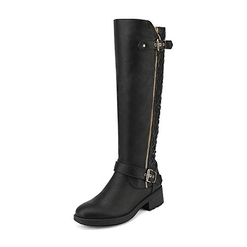 DREAM PAIRS Women's Utah Black Low Stacked Heel Knee High Riding Boots Wide Calf Size 7 M US (Ladies Heel Boots)