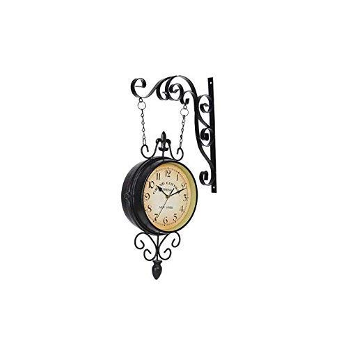 Watches 10 Inch European Retro Double Sided Wall Mounted Nostalgic Mediterranean Wrought Iron Style Double Sided Wall Movement Stable Time Accuracy (Color # 1)