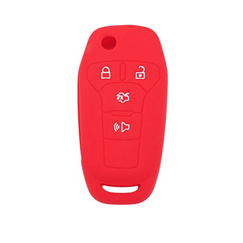 SEGADEN Silicone Cover Protector Case Skin Jacket fit for FORD Fusion 4 Button Flip Remote Key Fob CV2711 Red - Skin Cover Fits
