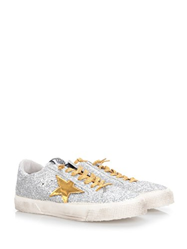 Golden Goose Sneakers Donna G30WS127F1 Pelle Argento/Oro