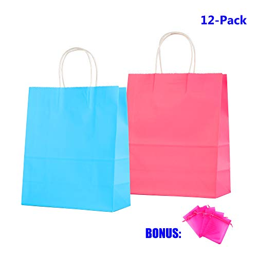 Anleolife 12 Small Kraft Paper Kids Gift Bags, Assorted Goody Tote Loot Set Party Favor Supplies on Boys/Girls Birthday, Baby Showers, Retails Shopping Restaurant Takeout (Blue_n_Red) ()